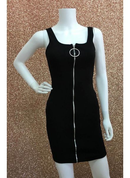 Reba ribbed zip front dress
