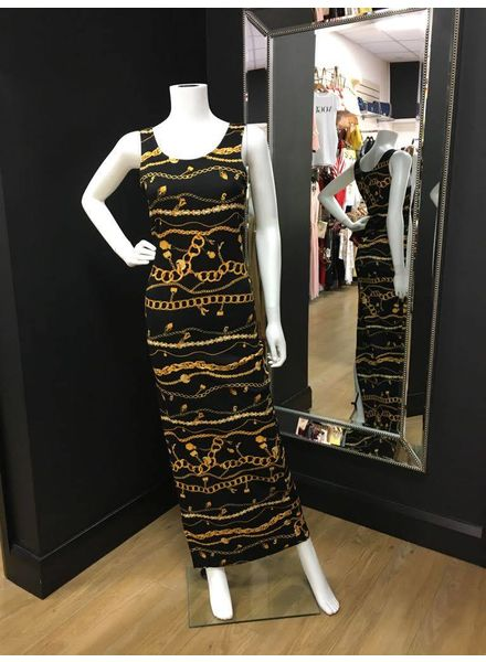 Chain print dress with side zip