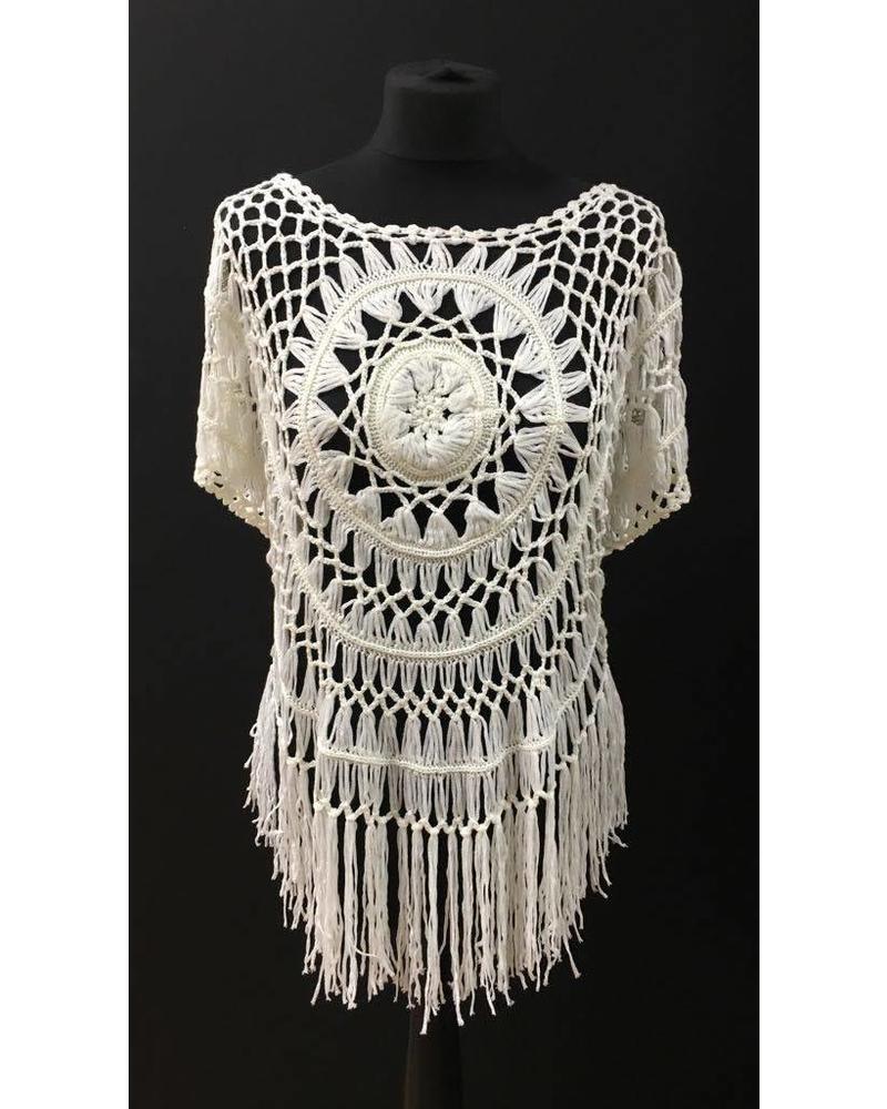 Crochet tasselled cover up