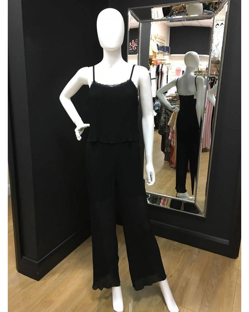 Cheri chiffon pleated jumpsuit