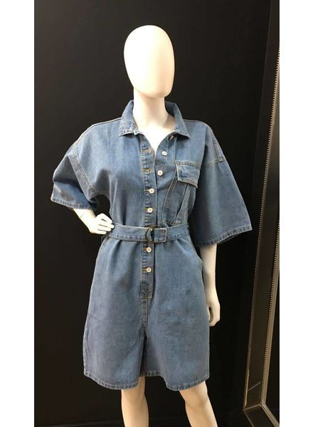 Flash Rosie denim button up playsuit