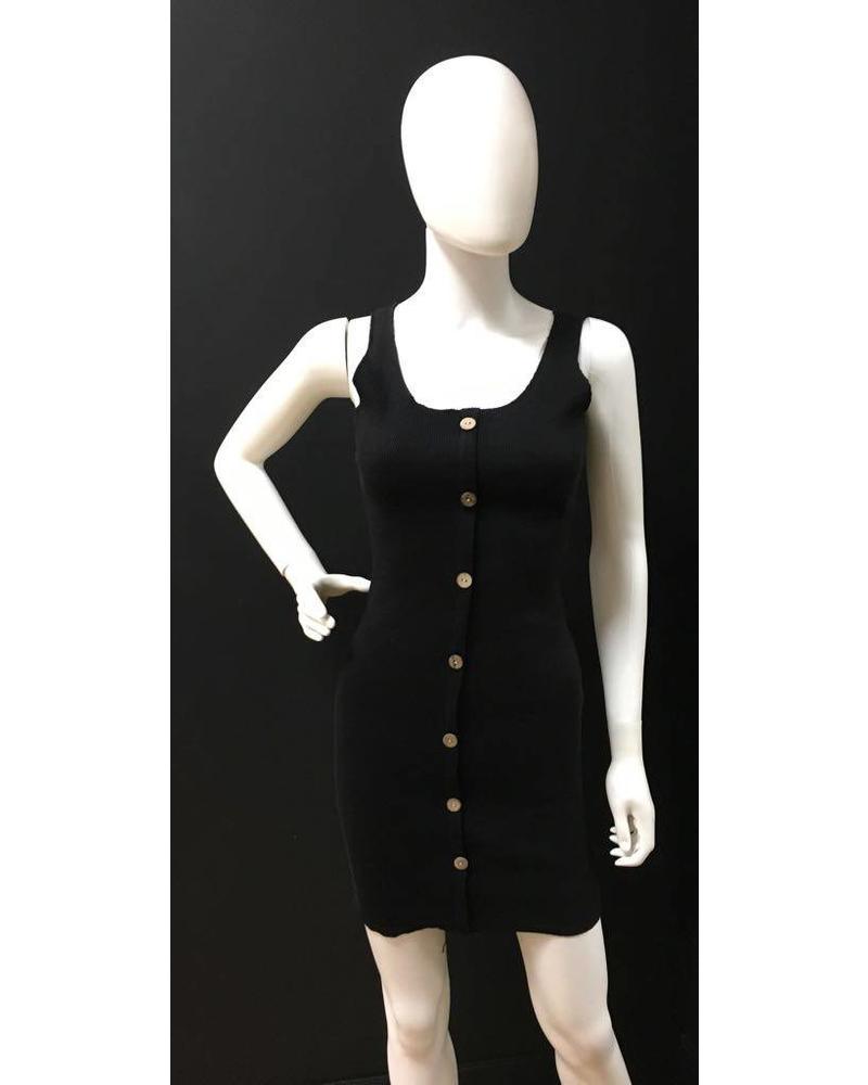 Faux Button Vest Dress