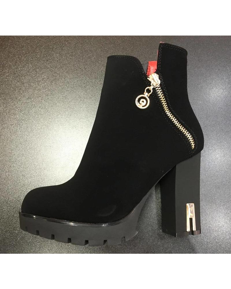 Double Zip platform ankle boots