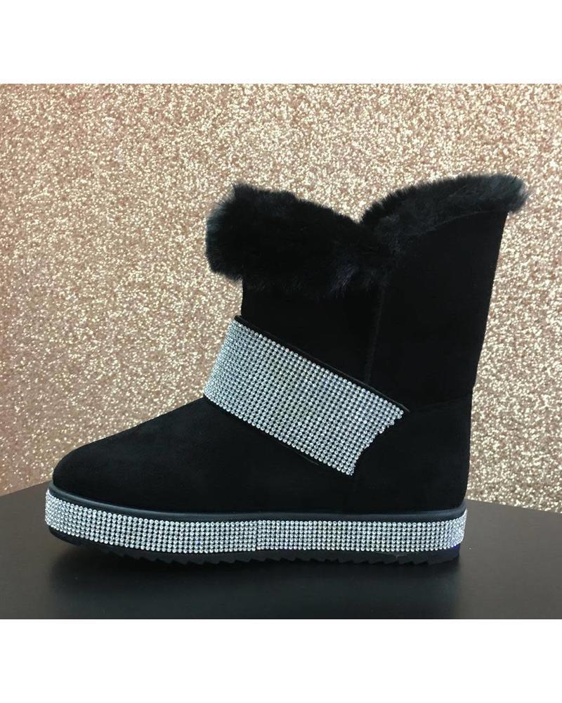 Faux suede fur & Diamanté boot