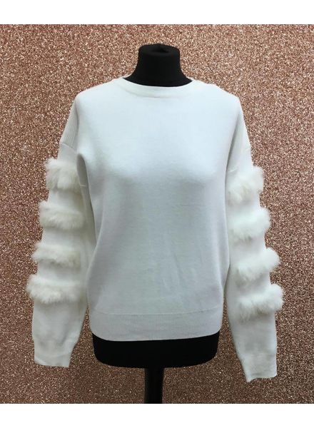 Layered fur sleeve jumper