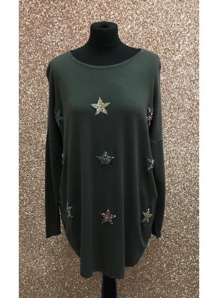 Multicolour star diamanté star Jumper
