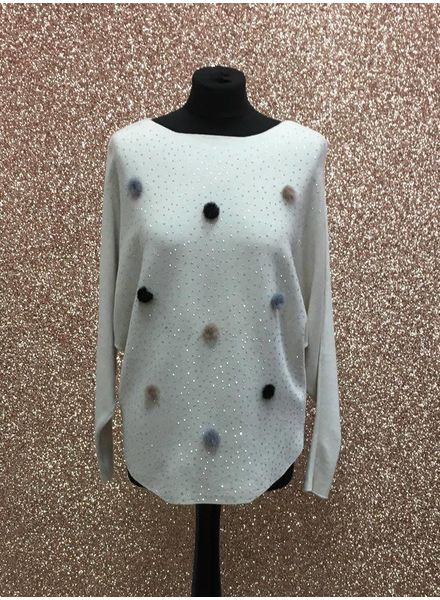 Diamanté & multi colour Pom Pom Jumper