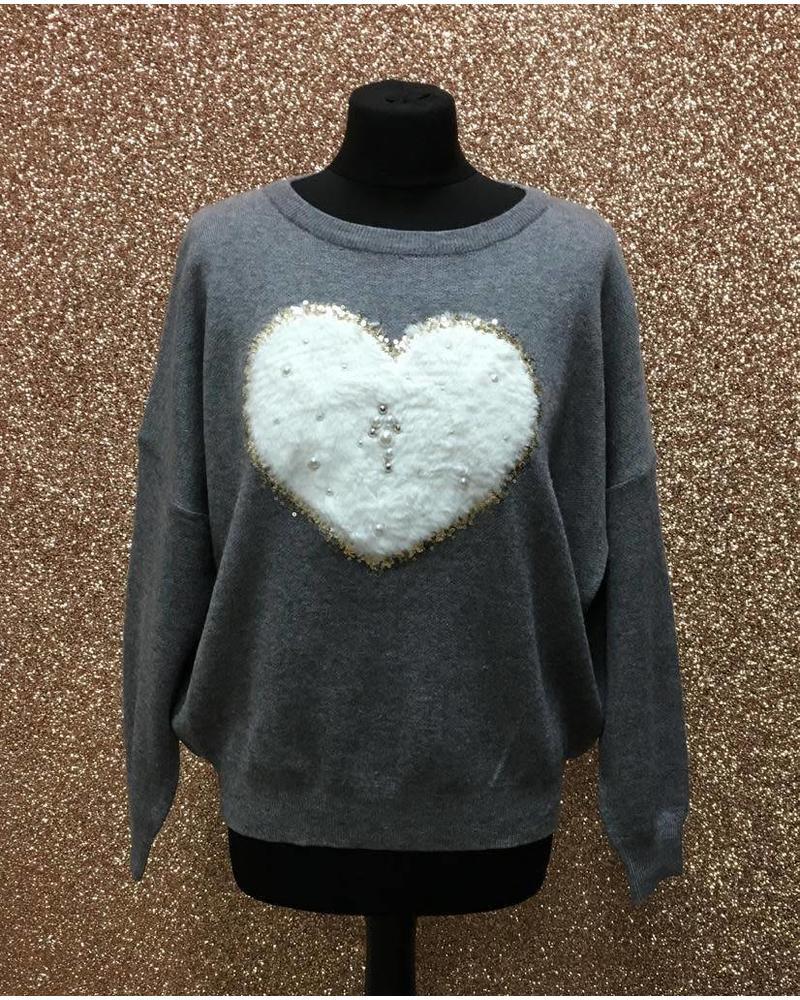 Faux Fur & sequin Heart Jumper