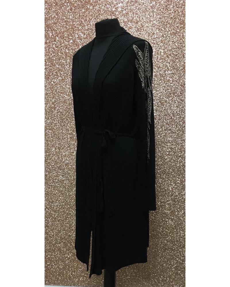 feather embellished Sleeve Cardigan