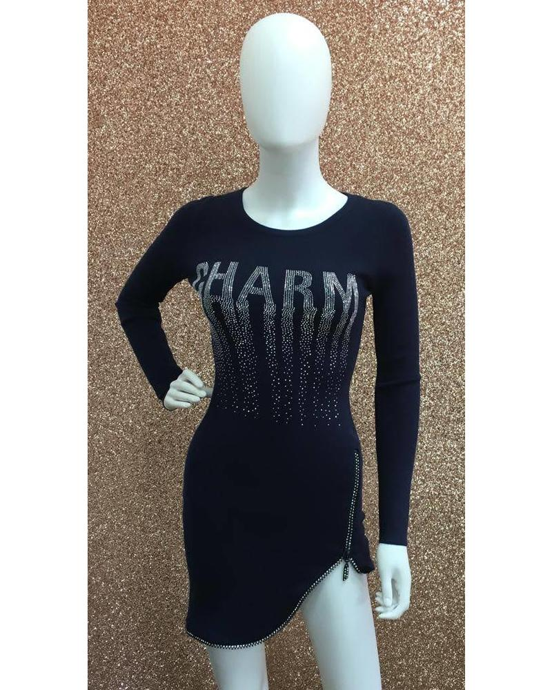 Charm diamanté zip dress