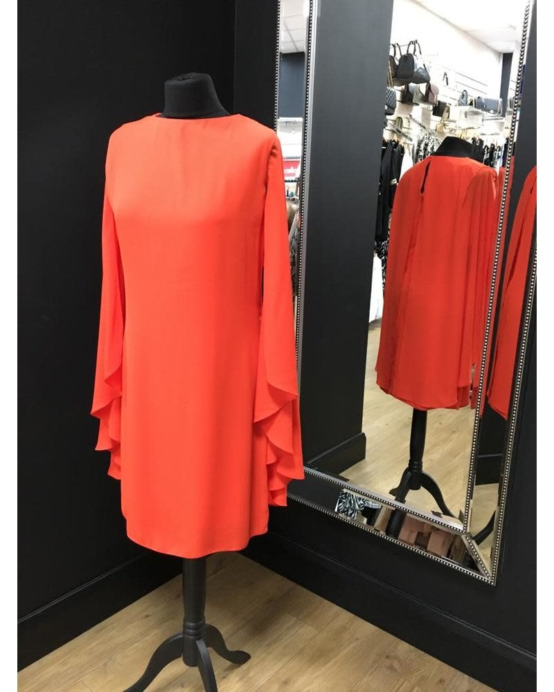 Ellie long sleeve coral cape dress