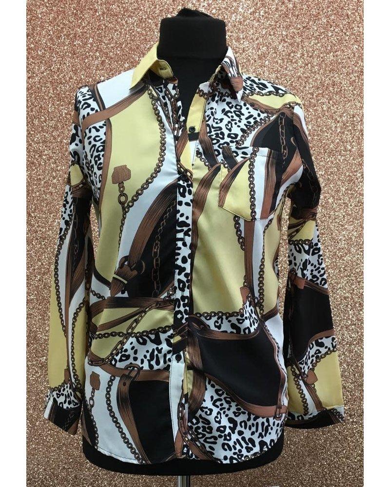 Chain print button up shirt