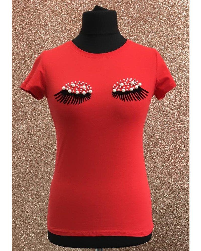 Pearl embellished eyelash T-shirt