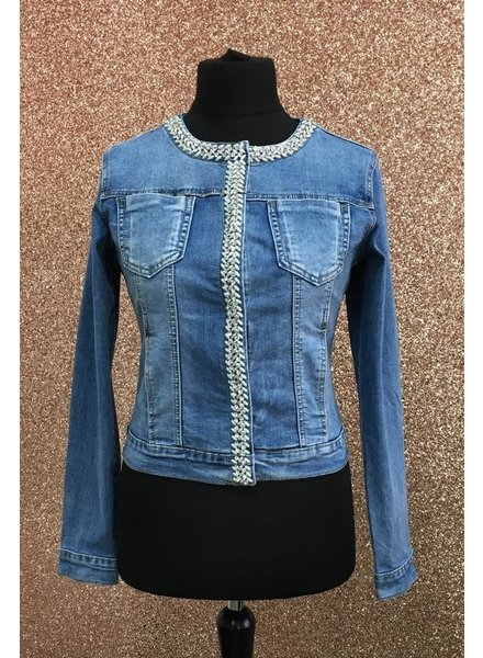 Sofia pearl & Diamante Denim Jacket