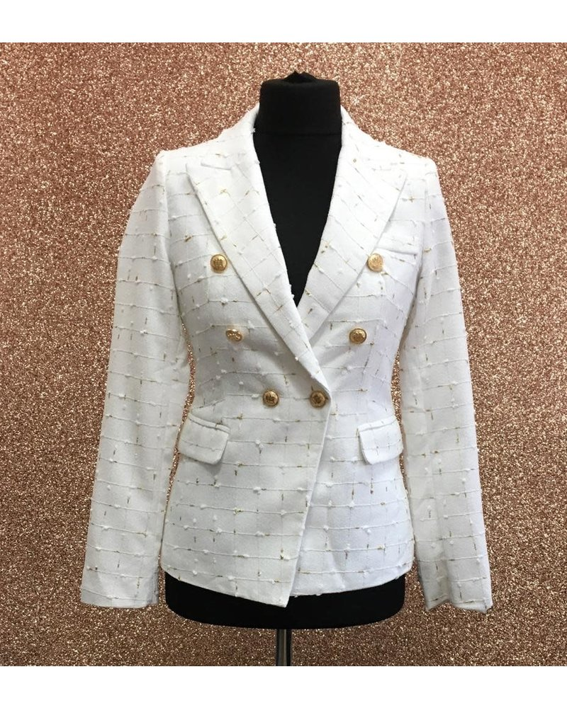 White and gold double breasted jacket