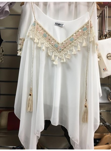 Tia tassel cold shoulder shorts set