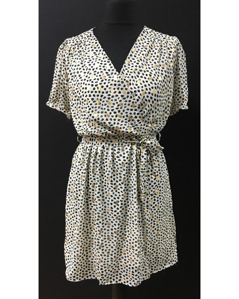 Purdy crossover gold print dress