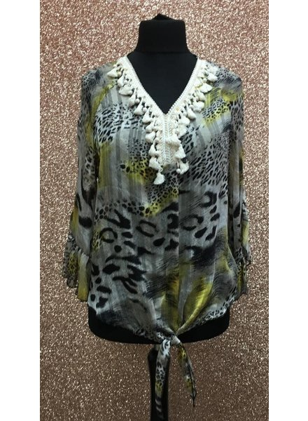 Sasha Safari print tassel Top