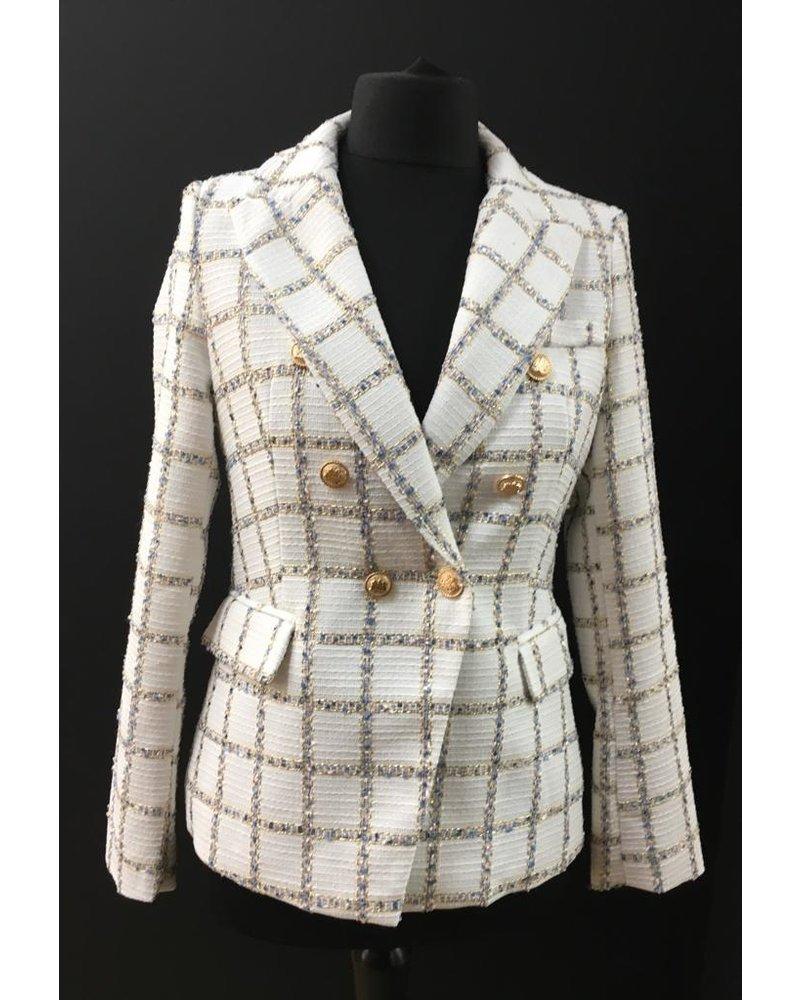 White, gold  check jacket