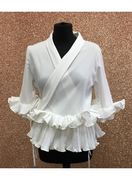 Demi Ruffle sleeve pleated tie up top