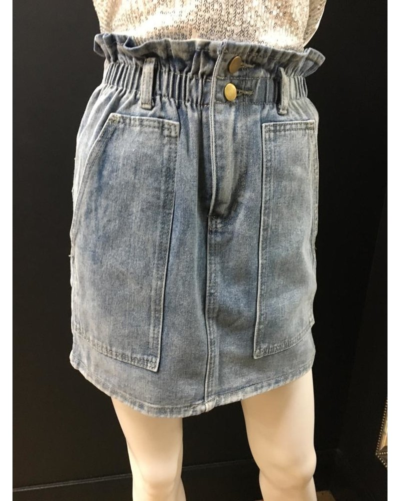 Mia Paper bag denim skirt