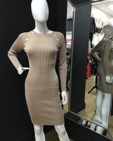Millie Gold button midi dress
