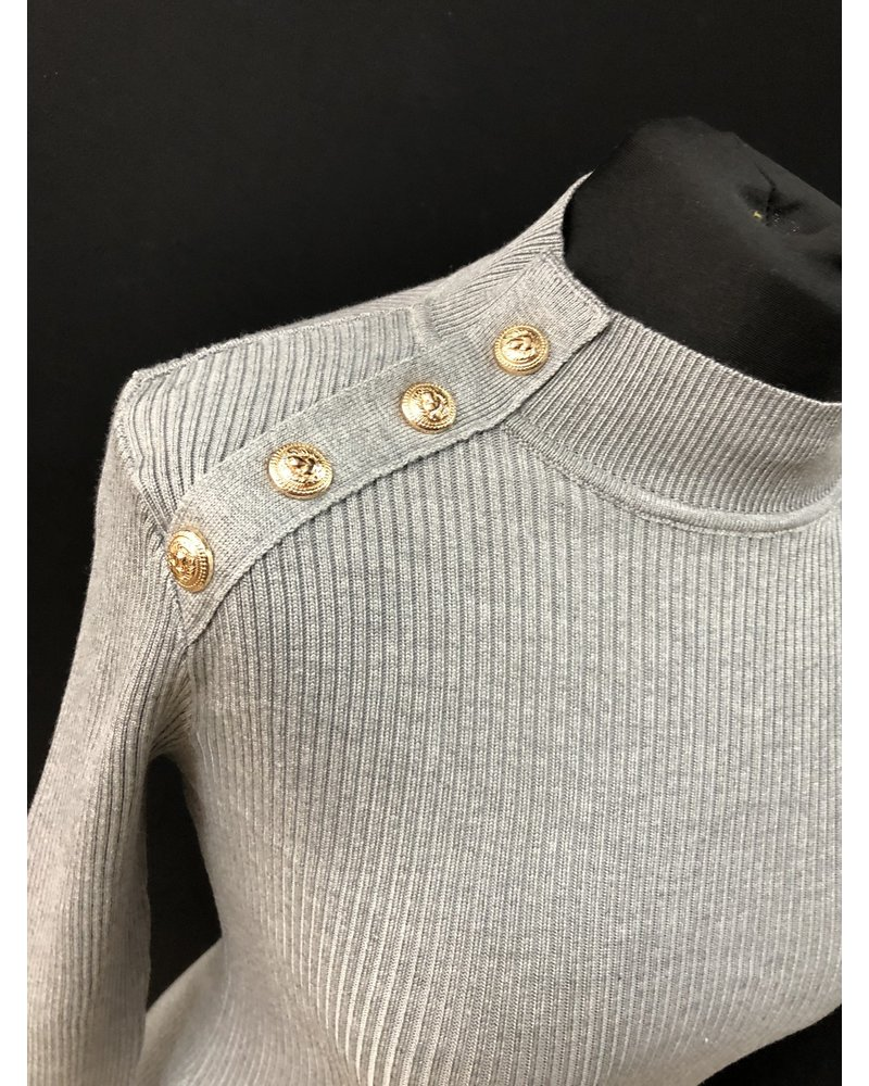 Kacey Gold button turtle neck top
