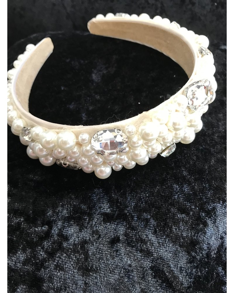 Cream pearl and diamanté headband