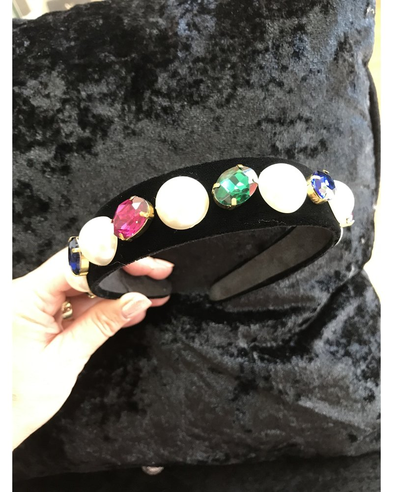Black velvet headband with jewels and pearls HB2
