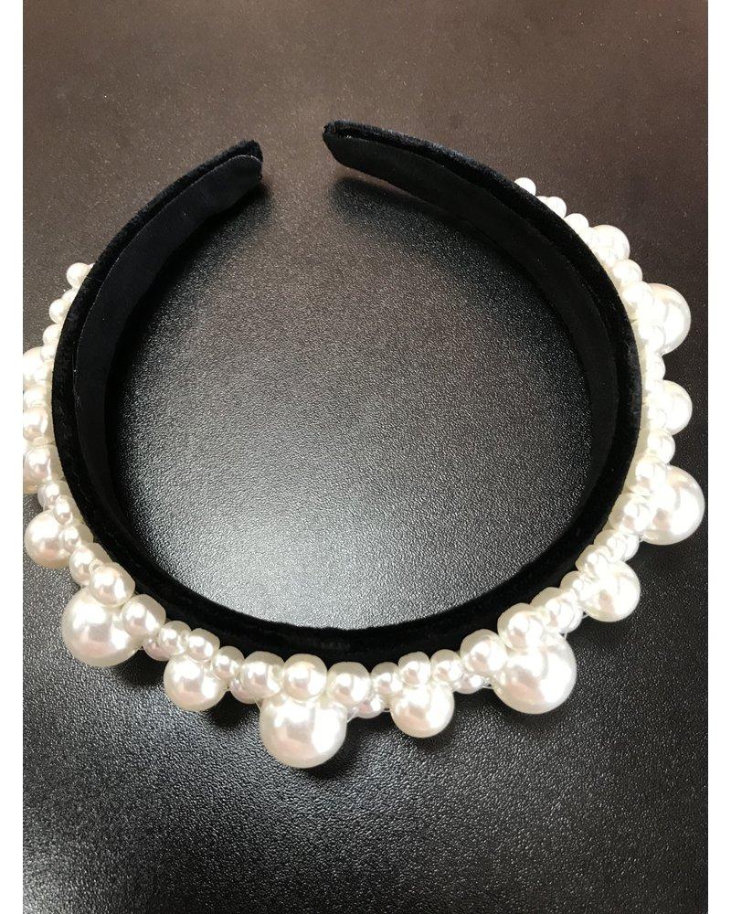 Black velvet pearl embellished headband HB4
