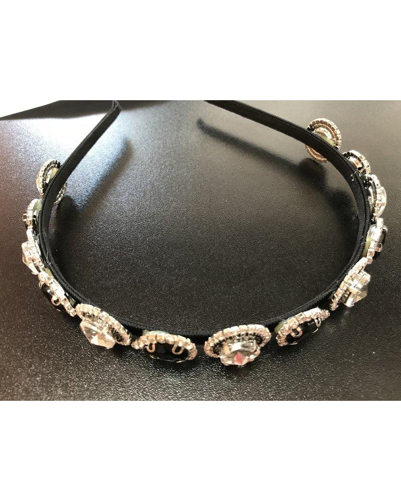 Slim diamante and jet headband HB5