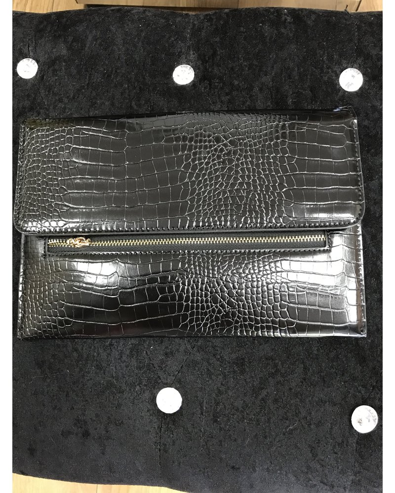 Millie crocodile zip detail clutch bag