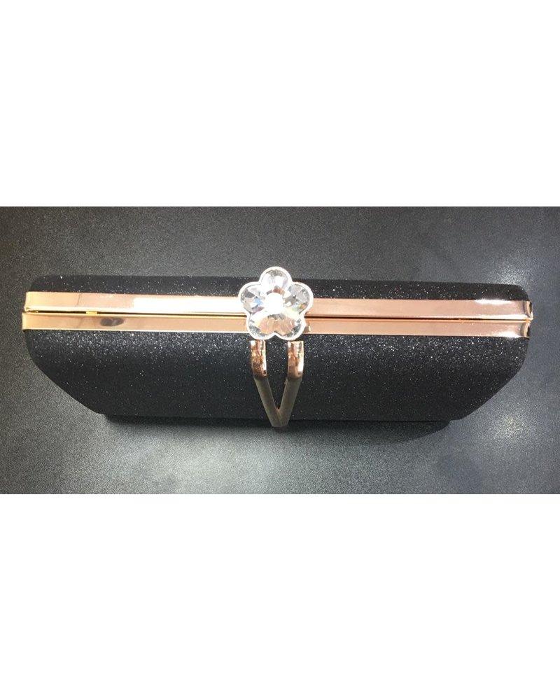 Diamanté daisy clasp glitter clutch bag