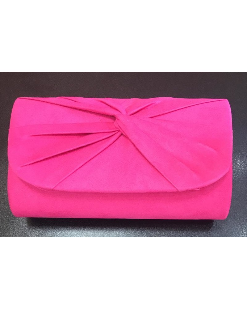 Suede twisted front clutch bag