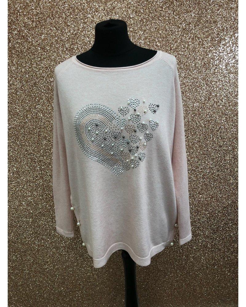 Heart diamanté & pearl fine knit jumper
