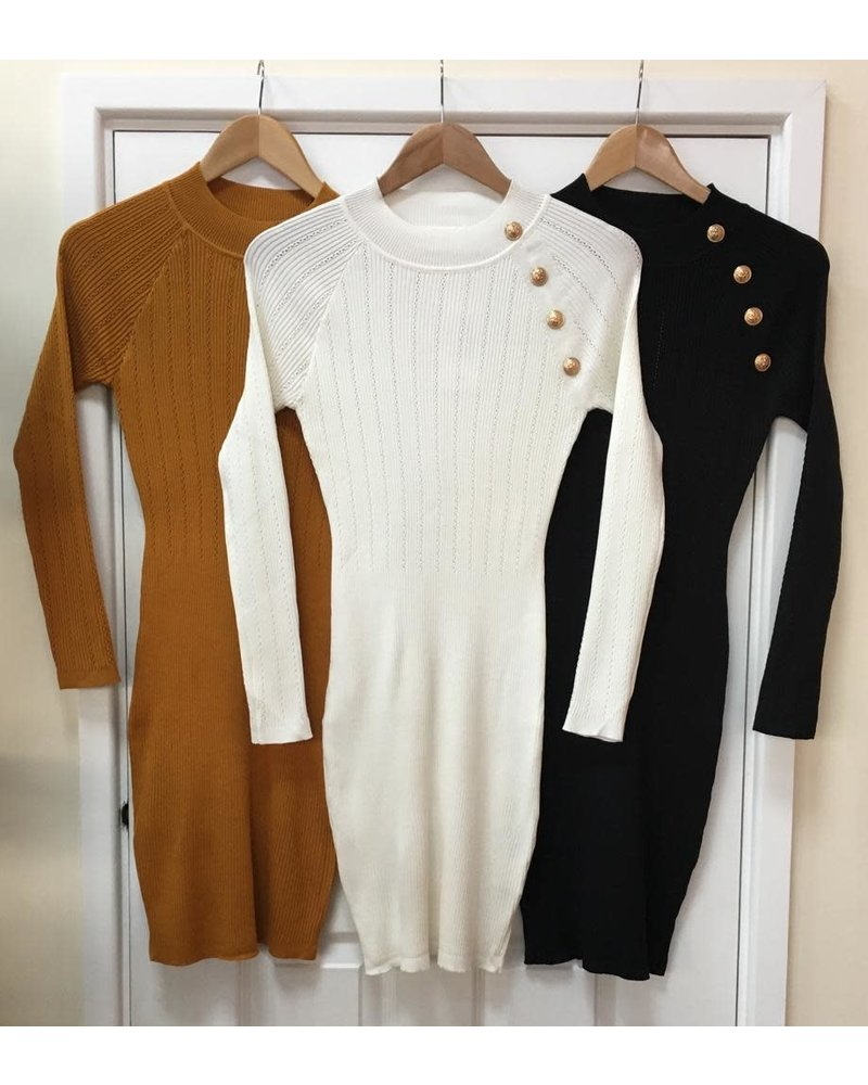Fine knit millie gold button dress