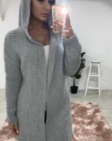 Chunky knit Pom Pom hooded cardigan