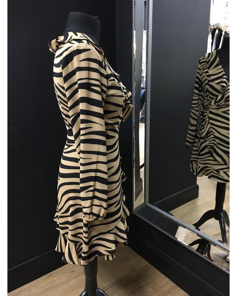 Zara zebra long sleeve wrap dress