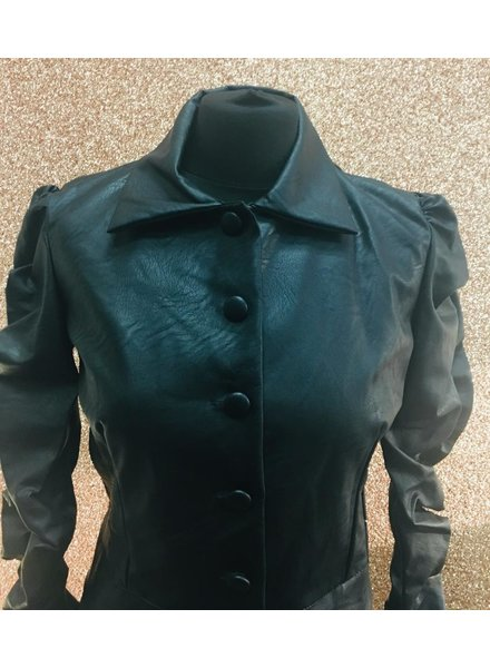 Chrystal Faux leather Rouche jacket