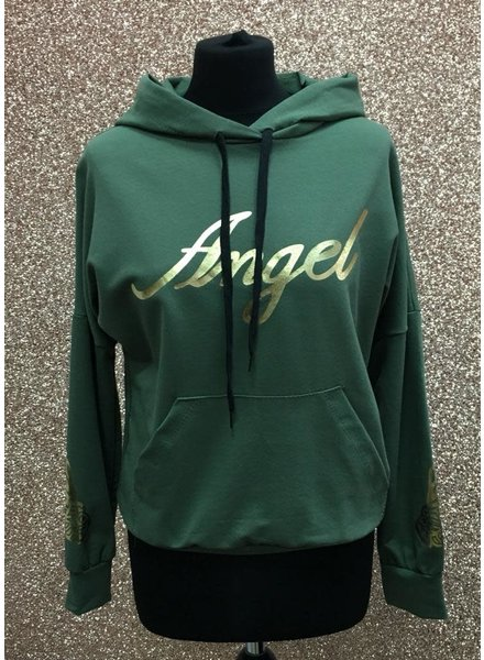 Angel slogan hooded jumper