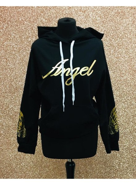 Angel slogan hooded jumper