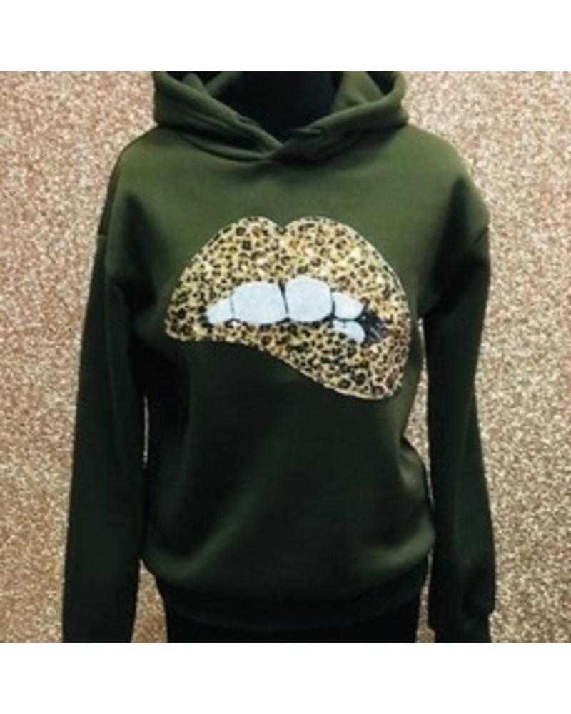 Laetitia Mae Alesha lips hooded jumper
