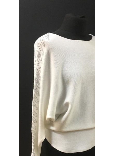 Feather diamante embellished arm jumper
