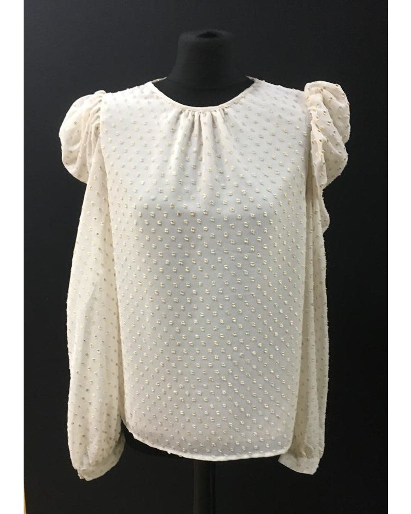 Cara rouche sleeve gold spot blouse