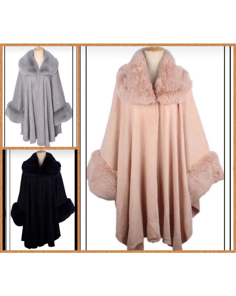 Faux fur collar and cuff cape