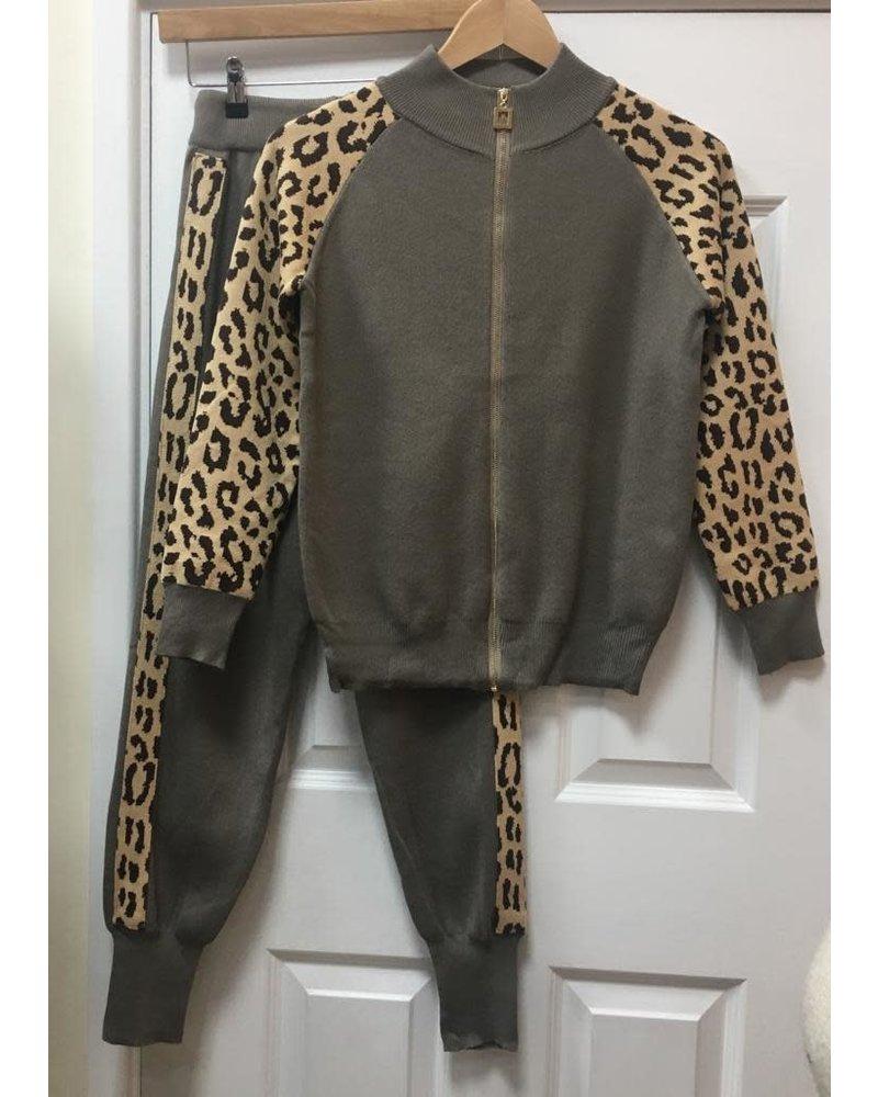 Leila leopard zip up lounge suit