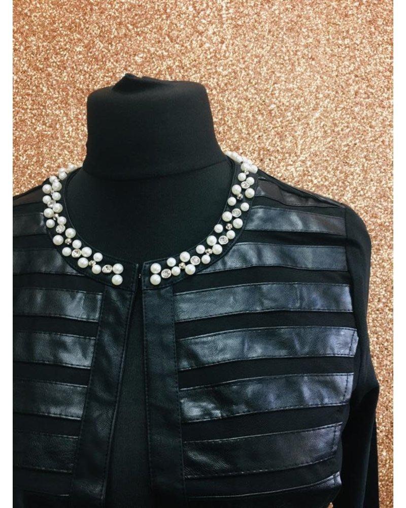 Lola Faux Leather & Mesh Detail Jacket