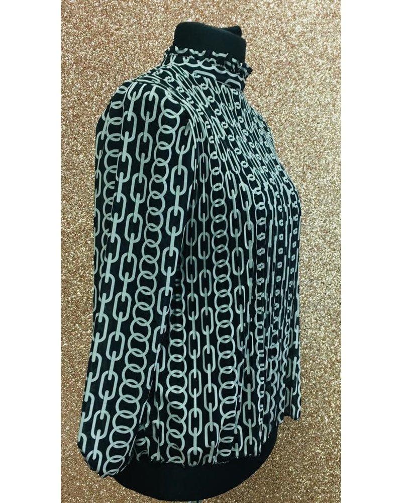 Chelsea ruffle neck print pleated top