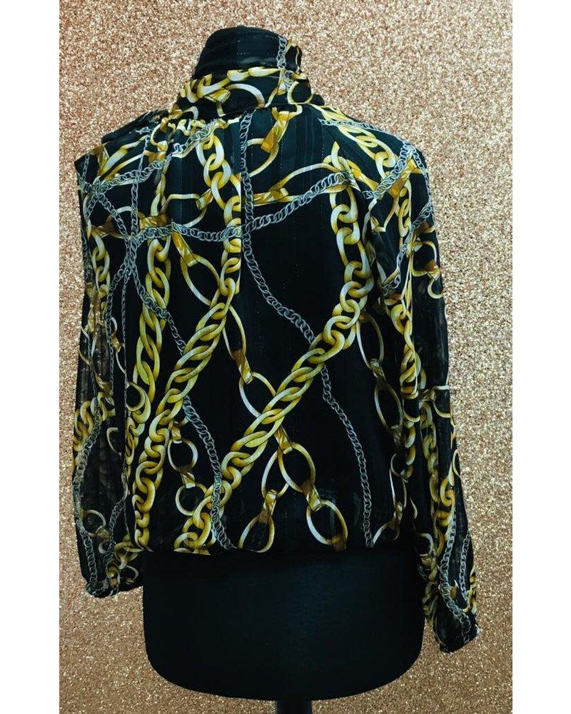 Sienna chiffon sleeve pussy bow blouse
