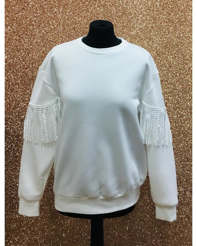 Sherri Studded tassel arm sweater